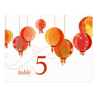 Chic Red Lanterns White Wedding Table Numbers Postcard