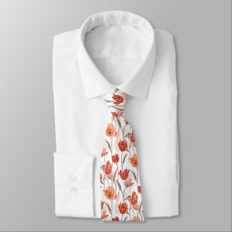Chic Red Orange Poppy Flowers Watercolor Painting Neck Tie