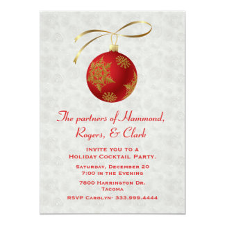 Chic Red Ornament Coporate Holiday Invitation