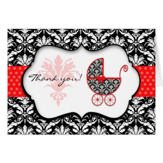 Chic Red Polka Dot Damask Baby Shower Thank You Card