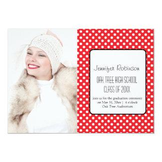 Chic Red Polka Dots Graduation Card