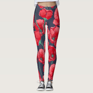 Chic Red poppy flowers hand painted pattern Leggings
