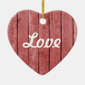 Chic Red Rustic Wood Double-Sided Heart Ceramic Christmas Ornament