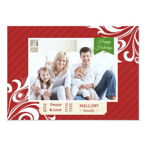Chic Red Striped Christmas Flat Card