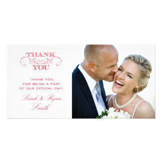 Chic Red Wedding Photo Thank You Cards