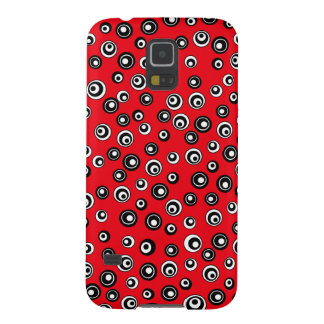 Chic red white and black circle pattern galaxy s5 covers
