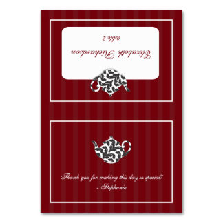 Chic Red & White Damask Teapot Folded Place Card