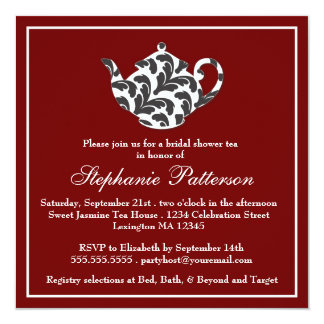 Chic Red & White w Damask Bridal Shower Tea Party Card