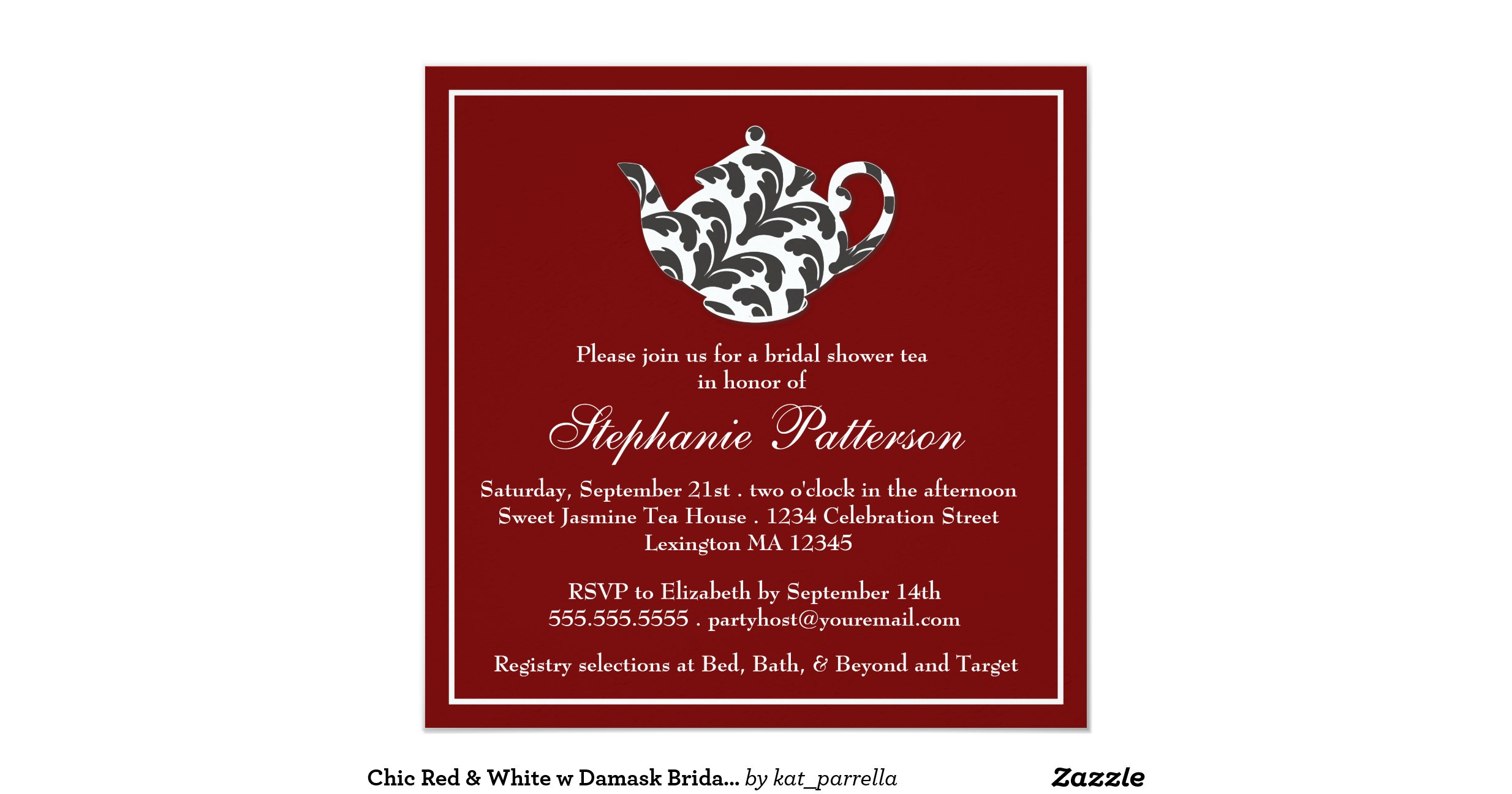 Funky Shabby Chic Bridal Shower Invitations Ornament - Invitations ...