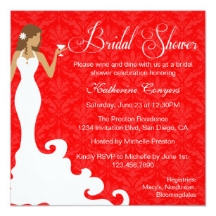 chic red wine damask bridal shower invitation