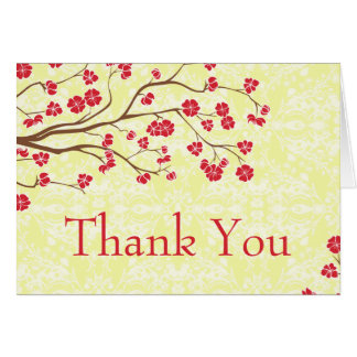 Chic red + yellow floral damask wedding thank you card