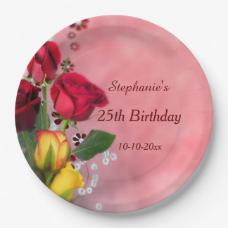 Chic Red & Yellow Roses 25th Birthday 9 Inch Paper Plate