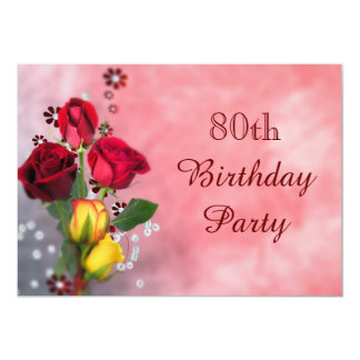 Chic Red & Yellow Roses 80th Birthday 5x7 Paper Invitation Card