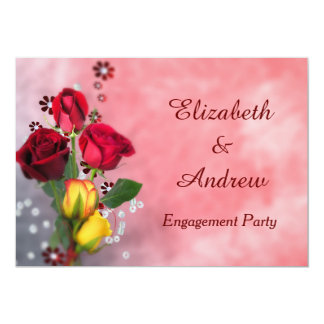 Chic Red & Yellow Roses Engagement Card
