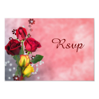 """Chic Red & Yellow Roses RSVP 3.5"""" X 5"""" Invitation Card"""