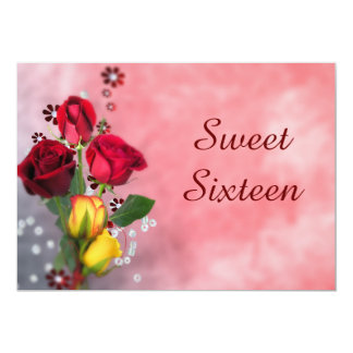 Chic Red & Yellow Roses Sweet Sixteen Card
