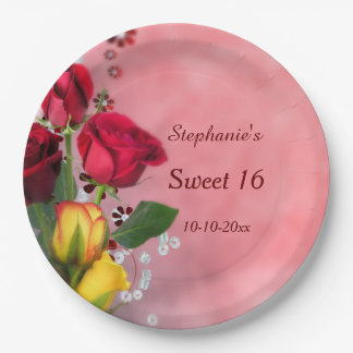 Chic Red & Yellow Roses Sweet Sixteen Paper Plate