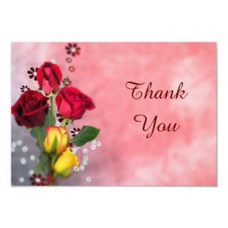 Chic Red & Yellow Roses Thank You Card