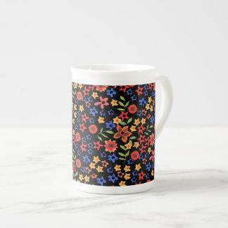 Chic Retro Floral Print Custom Bone China Mug