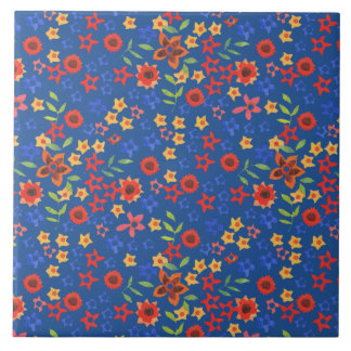 Chic Retro Floral Print on Blue Ceramic Tile
