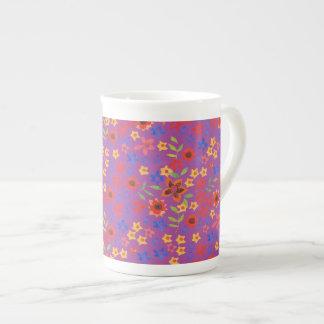 Chic Retro Floral Print on Magenta Bone China Mug