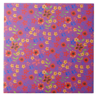 Chic Retro Floral Print on Magenta Ceramic Tile