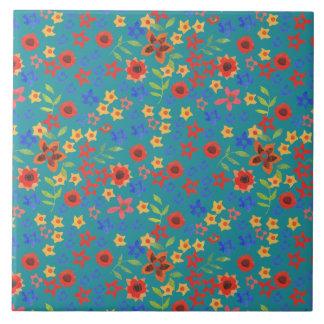 Chic Retro Floral Print on Teal Ceramic Tile