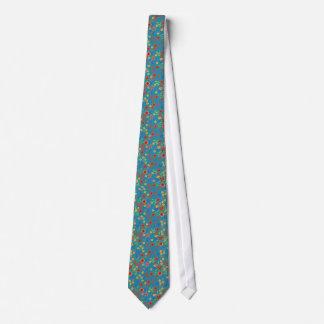 Chic Retro Floral Print on Teal Unisex Necktie
