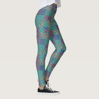 Chic Retro Granny Prints Faux Patchwork Pattern Leggings