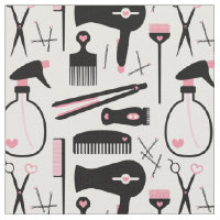Chic Retro Pink Black Hair Salon Tools Fabric