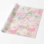 Chic Retro Pink White Watercolor Floral Pattern Wrapping Paper at Zazzle