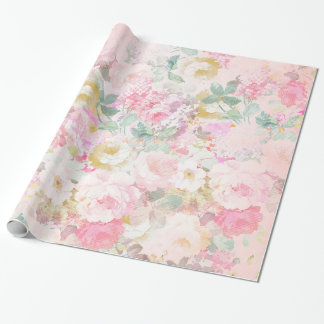 Chic retro pink white watercolor floral pattern wrapping paper