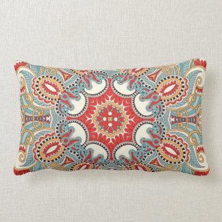 Chic Retro Red Turquoise Teal Kaleidoscope Pattern Lumbar Pillow