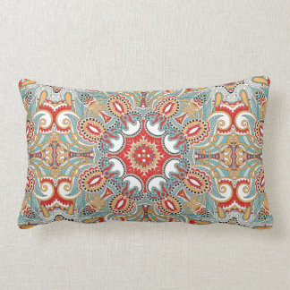 Chic Retro Red Turquoise Teal Kaleidoscope Pattern Pillow