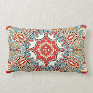 Chic Retro Red Turquoise Teal Kaleidoscope Pattern Throw Pillow