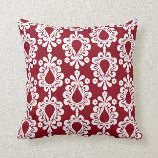 Chic Retro Red & White Demask Throw Pillow
