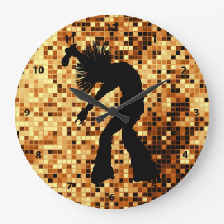 Chic Retro Singer Dancer Gold Mirror Tiles Large Clock