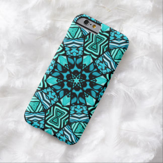 Chic Retro Teal Turquoise Oriental Mosaic Pattern Barely There iPhone 6 Case