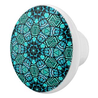Chic Retro Teal Turquoise Oriental Mosaic Pattern Ceramic Knob