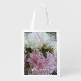 """CHIC REUSABLE BAG_""""Peonies"""" PINK AND WHITE FLORAL Reusable Grocery Bags"""