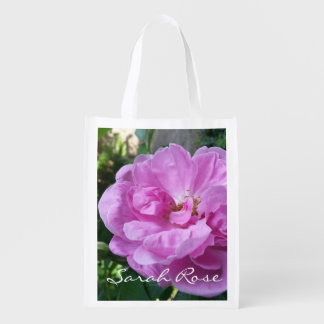 "CHIC REUSABLE BAG_""Sarah Scrub Rose"" PINK FLORAL Grocery Bag"