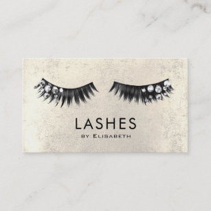 chic rhinestone fake lashes on faux gold foil business card - Fake Business Cards