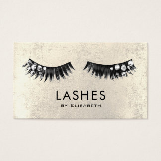 chic rhinestone fake lashes on faux gold foil business card
