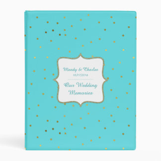 Chic Robins Egg Blue and Gold Wedding Memory Book Mini Binder