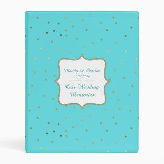 Chic Robins Egg Blue and Gold Wedding Memory Book Mini Binder