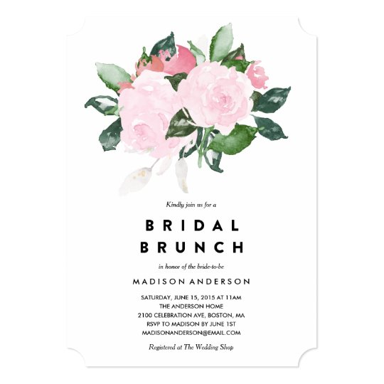 Chic romance bridal shower brunch invitation for Wedding brunch invitations