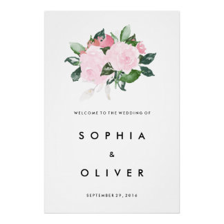Chic Romance Large Wedding Welcome Sign Poster
