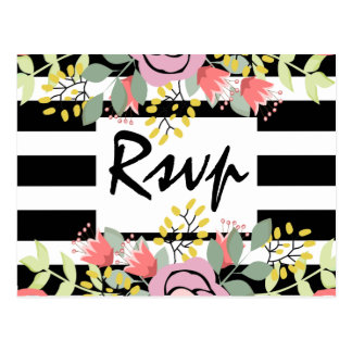 Chic romantic floral and striped rsvp postcard