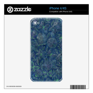 Chic romantic flower pattern,blue decals for the iPhone 4