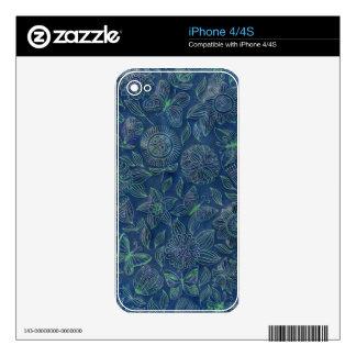Chic romantic flower pattern,blue iPhone 4S skins